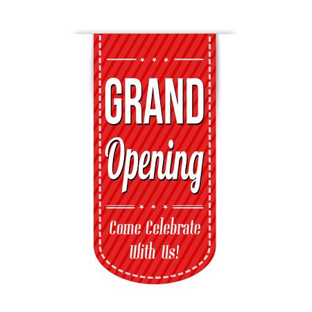 Grand opening banner design over a white background, vector illustration Stock Illustratie