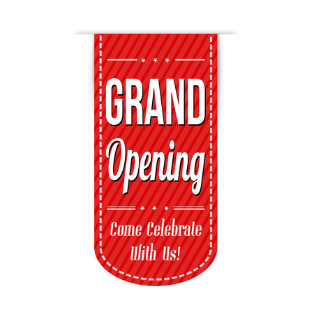 Grand opening banner design over a white background, vector illustration Vettoriali