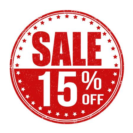 Sale 15% off grunge rubber stamp on white background, vector illustration