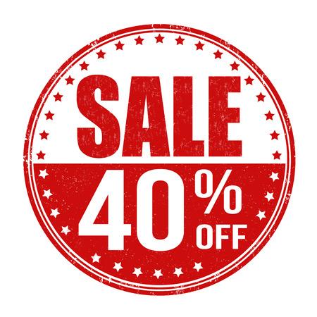 Sale 40% off grunge rubber stamp on white background, vector illustration Illustration