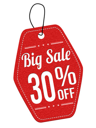 big sale: Big sale 30% off red leather label or price tag on white background, vector illustration