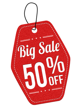 Big sale 50% off red leather label or price tag on white background, vector illustration Vector