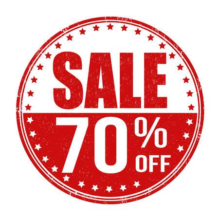 Sale 70% off grunge rubber stamp on white background, vector illustration Vector