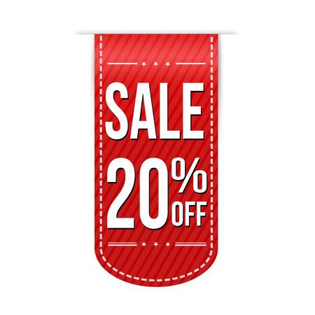 Sale 20% korting op de banner ontwerp op een witte achtergrond, vector illustratie Stock Illustratie