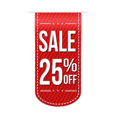 Sale 25% off banner design over a white background, vector illustration Illustration