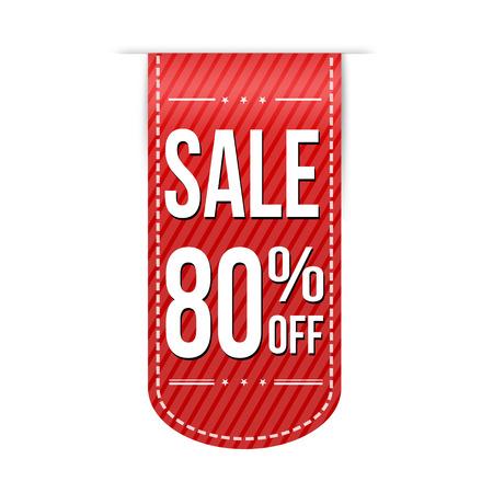 paid: Sale 80% off banner design over a white background, vector illustration Illustration