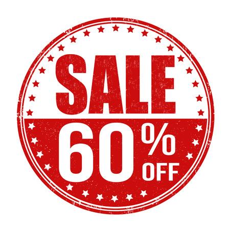 Sale 60% off grunge rubber stamp on white background, vector illustration Vector