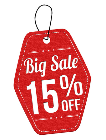 15: Big sale 15% off red leather label or price tag on white background, vector illustration Illustration