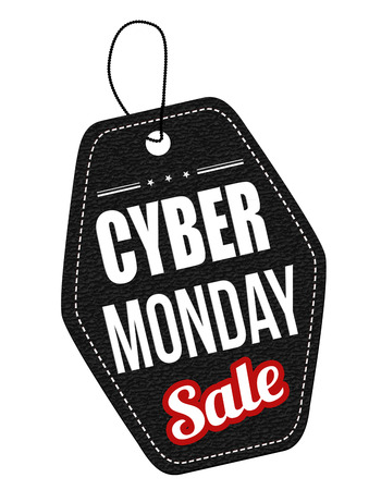 Cyber Monday black leather label or price tag on white background, vector illustration Vector