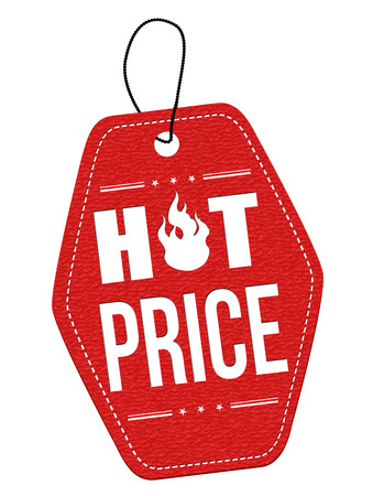 hot announcement: Hot price red leather label or price tag on white background, vector illustration Illustration