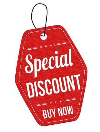 Special discount red leather label or price tag on white background, vector illustration Vector