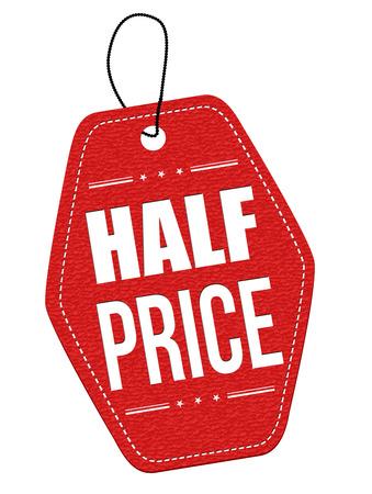 Halve prijs rood lederen etiket of prijskaartje op een witte achtergrond, vector illustratie