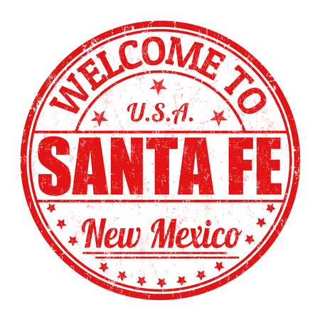 Welcome to Santa Fe grunge rubber stamp on white background Çizim