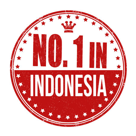 Number one in Indonesia grunge rubber stamp on white background Vector
