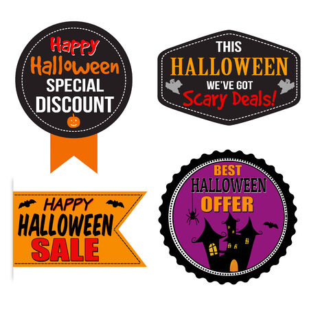 Promotional label, sticker or stamps for Halloween sale on white, vector illustration