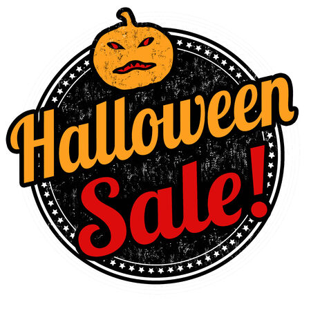 Halloween sale grunge rubber stamp on white background, vector illustration