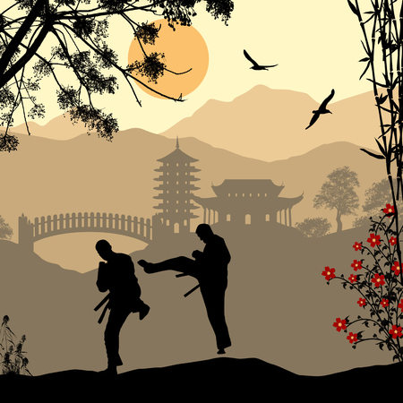 karate practice: Karate in the beautiful asian landscape, vector illustration