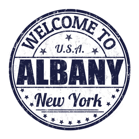 albany: Welcome to Albany grunge rubber stamp on white background, vector illustration