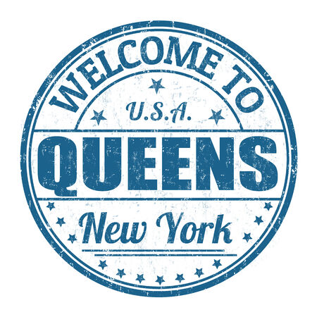 visit us: Welcome to Queens grunge rubber stamp on white background, vector illustration Illustration