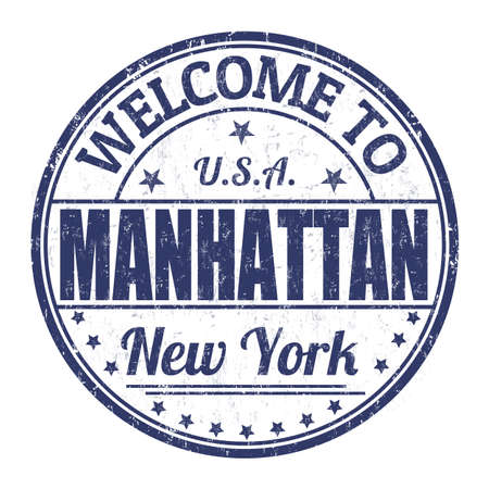 visit us: Welcome to Manhattan grunge rubber stamp on white background, vector illustration