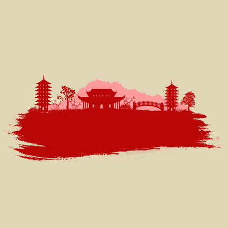 Old paper with asian landscape on vintage asian style grunge background, vector illustration Illustration
