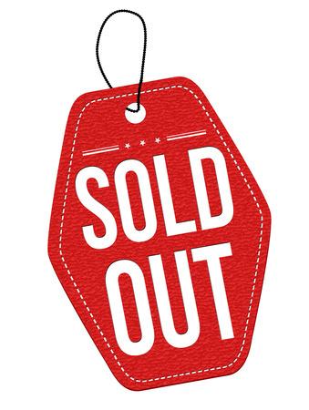 Uitverkocht rood lederen etiket of prijskaartje op een witte achtergrond, vector illustratie Stock Illustratie