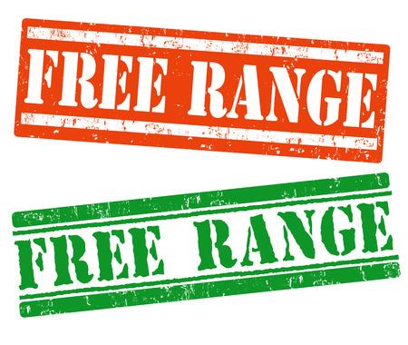 Free range grunge rubber stamp on white background, vector illustration Vector