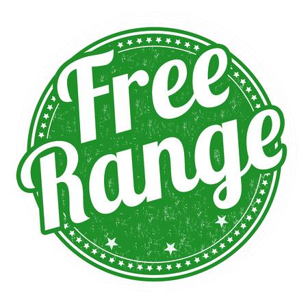 Free range grunge rubber stamp on white background, vector illustration Illustration