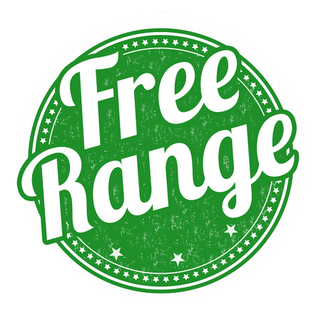 preservatives: Gallinero con salida libre grunge sello de goma en el fondo blanco, ilustraci�n vectorial