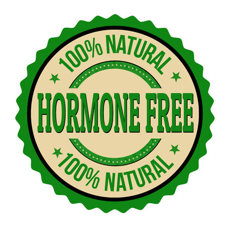 hormone: Hormone free label or stamp on white background, vector illustration