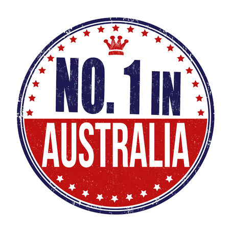 australia stamp: Number one in Australia grunge rubber stamp on white background