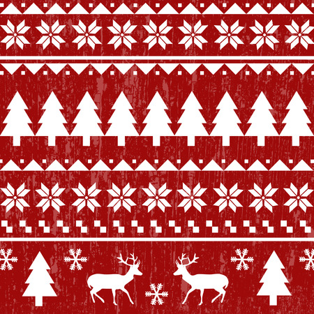 Seamless Christmas pattern or scandynavian pattern, vector illustration Çizim