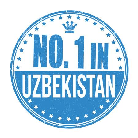 oezbekistan: Nummer één in Oezbekistan grunge rubber stempel op een witte achtergrond