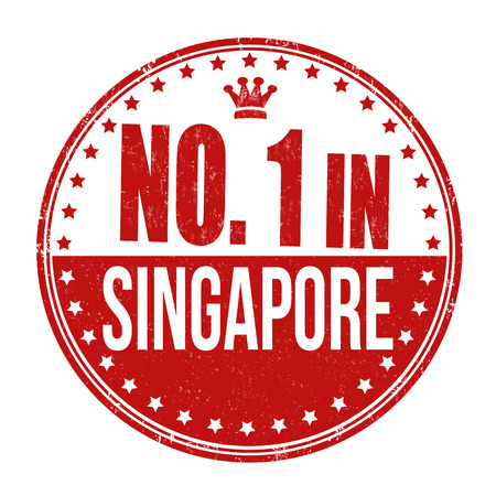Number one in Singapore grunge rubber stamp on white background Vector