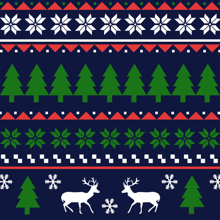 Seamless Christmas pattern or scandynavian pattern, vector illustration Illustration