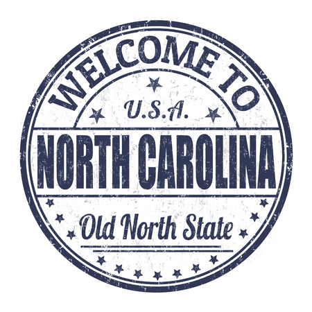 carolina: Welcome to North Carolina grunge rubber stamp on white background, vector illustration