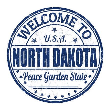 best travel destinations: Welcome to North Dakota grunge rubber stamp on white background, vector illustration Illustration