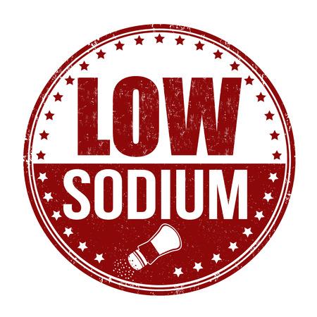 Low sodium grunge rubber stamp on white background, vector illustration Vettoriali