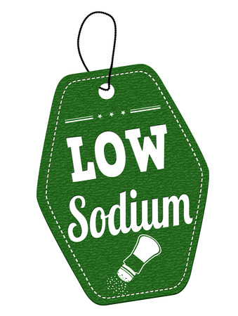 sodium: Low sodium leather label or price tag on white background, vector illustration