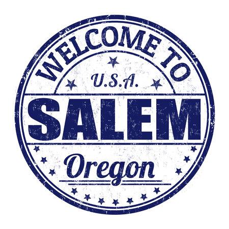 visit us: Welcome to Salem grunge rubber stamp on white background, vector illustration Illustration