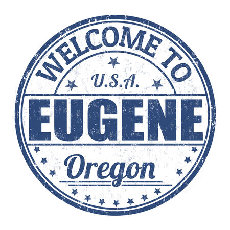 state of oregon: Welcome to Eugene grunge rubber stamp on white background, vector illustration