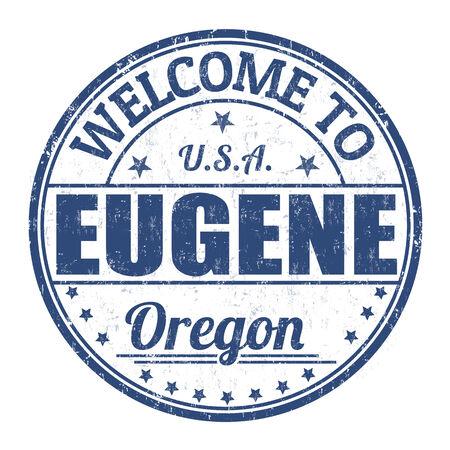 eugene: Welcome to Eugene grunge rubber stamp on white background, vector illustration