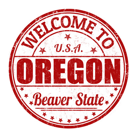 state of oregon: Welcome to Oregon grunge rubber stamp on white background, vector illustration