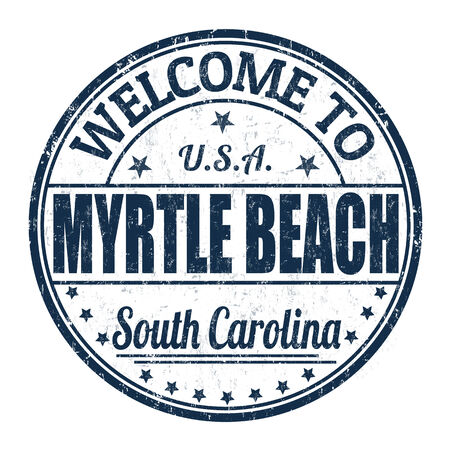 carolina: Welcome to Myrtle Beach grunge rubber stamp on white background Illustration