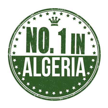 algeria: Number one in Algeria grunge rubber stamp on white background