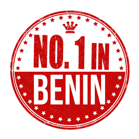 Number one in Benin grunge rubber stamp on white background Vector