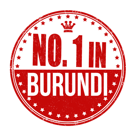 Number one in Burundi grunge rubber stamp on white background Vector
