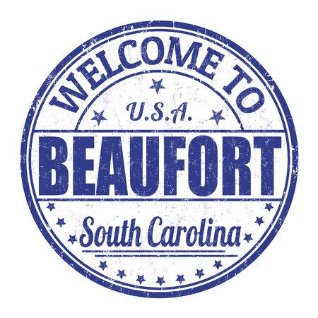 timbre voyage: Bienvenue à Beaufort timbre en caoutchouc grunge sur fond blanc, illustration vectorielle