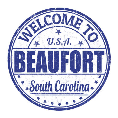 carolina: Welcome to Beaufort  grunge rubber stamp on white background, vector illustration Illustration