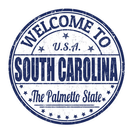 visit us: Welcome to South Carolina grunge rubber stamp on white background, vector illustration
